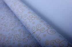 """Бумага на золотой основе """"Цветы"""" (голубой) 53см*10м GOL-1084"""