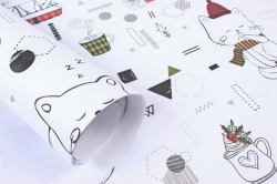 Бумага НГ 1*70 Дизайнерская бумага Коты на Белом 78г/м2 PinP-CW
