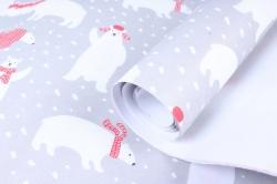 Бумага Нов. Год 1м*70см Дизайнерская бумага Медведи белые  78г/м2  10шт/уп  PinMW