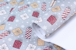 Бумага Нов. Год 1м*70см Дизайнерская бумага Подарки серые  78г/м2  10шт/уп  PinPS-KB