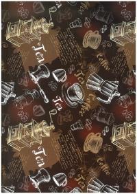 "Бумага подарочная ГЛЯНЕЦ  ""Чай-кофе ...""  0,7 х 1м (10 листов) 100/606"