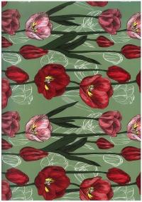 """Бумага подарочная ГЛЯНЕЦ """"Цветение тюльпанов"""" 0,7х1м размер листа (10 листов в упаковке)"""