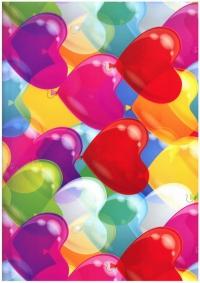 """Бумага подарочная ГЛЯНЕЦ """"Летящие сердца"""" 0,7х1м размер листа (10 листов в упаковке)"""