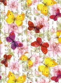 """Бумага подарочная ГЛЯНЕЦ """"Порхающие бабочки"""" 0,7х1м (10 листов в рулоне)"""