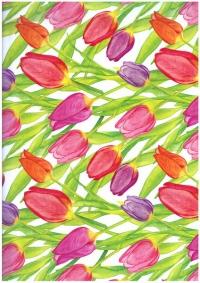 """Бумага подарочная ГЛЯНЕЦ """" Россыпи тюльпанов"""" 0,7х1м размер листа (10 листов в упаковке)"""