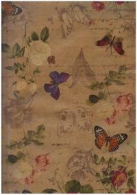 """Бумага подарочная КРАФТ """"Бабочки ретро""""  0,7х1м в листе (10 листов в упаковке)"""