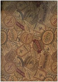 """Бумага подарочная КРАФТ """"Кофейные этикетки"""" 0,7х1м в листе (10 листов) 203/653"""