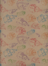 "Бумага подарочная крафт Новый Год. ""Скетч-снеговики"" 0,7х1м (10 лист.)"