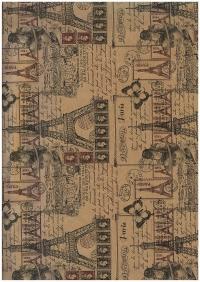 Бумага подарочная КРАФТ Париж 78г/м2 70см х 10м (рулон)