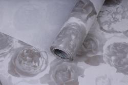 Бумага  рифленая в рулоне Розы серые на белом  50см*10м 131210-50/10,,600734