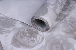 бумага  рифлен. в рул. розы серые на белом  50см*10м 131210-50/10,,600734