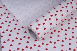 Бумага  рифленая в рулоне Сердечки красные на белом  50см*10м 131210-50/10,,600734