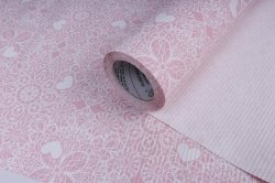 Бумага  рифлен. в рул. Сердечки-кружево розовые  50см*10м 131210-50/10,,600734