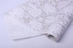Бумага  рифленая в рулоне Цветы белые на серебре  50см*10м   119745