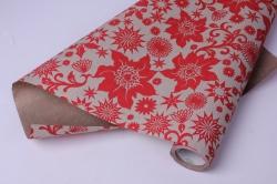 Бумага  рифленая в рулоне Цветы красные на золотом  50см*10м   106905