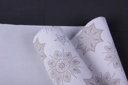 бумага  рифленая в рулоне снежинки на белом  50см*10м   153114