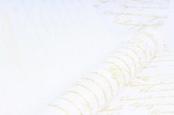 Бумага  Дизайнерский БЕЛЫЙ крафт Пушкинские строки (золото)  70см*10м 50г/м2  Р899   М