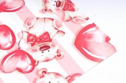 Бумага  ГЛЯНЕЦ 100/463 Мишка и летящее сердце 68*98см (10 листов)