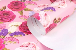 Бумага  ГЛЯНЕЦ 100/390 Розы с сухоцветами (68*98см)  (10 лист.)