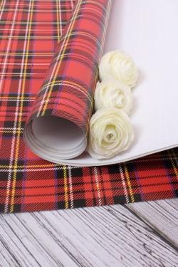 Бумага  ГЛЯНЕЦ 100/680 Шотландка красная 68*98см (10 лист.)