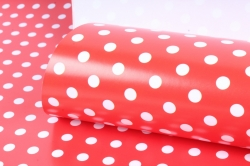Бумага  ГЛЯНЕЦ 100/001-15  Горошек красный (68*98см)  (10 лист.)