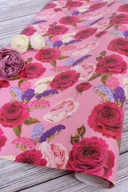 Бумага  ГЛЯНЕЦ  702/01 Розы с сухоцветами 0,7х2 м (2 листа 68х98 см)
