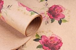 Бумага  КРАФТ 203/370 Розанчики 100*70см  (10 лист.)