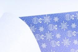 """Бумага  КРАФТ беленая Нов. Год """"Новогодние игрушки""""  50см*10м   70гр/м2   37416  М"""