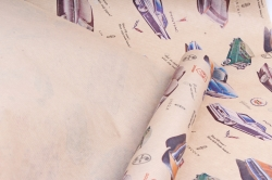 "Бумага  крафт цветочная ""Автомобили ретро"" 72см*10м  40г/м2    37788ПУ   М"