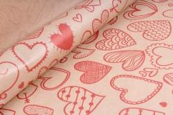 Бумага  крафт цветочная Сердечки фигурные красные 72см*10м  40г/м2   ( М)  33774ПУ