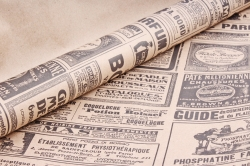 Бумага  крафт цветочная Винтажная газета 70см*10м 60г/м2  К713 М