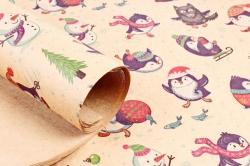 Бумага  крафт 203/Х141  Нов. Год.  Игры пингвинов 0,7*1м (10 лист.)