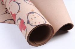 Бумага  КРАФТ  203/Х129  Нов. Год. Пингвины в теплом 100*70см (10 листов)