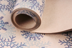 Бумага  КРАФТ  203/Х126  Нов. Год. Снежинки синие 100*70см (10 листов)