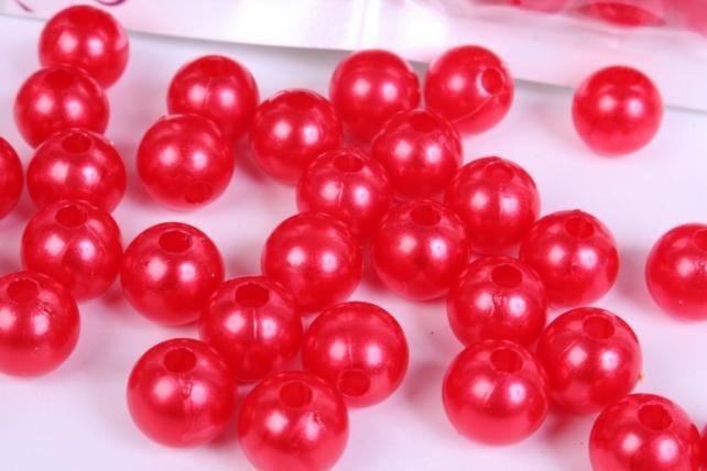 бусины  10мм круглые перламутр красные  (50гр) pl  k10-07