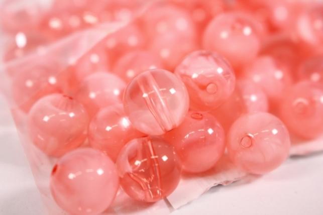 бусины  10мм круглые розовые  (50гр) pl  01-10 864