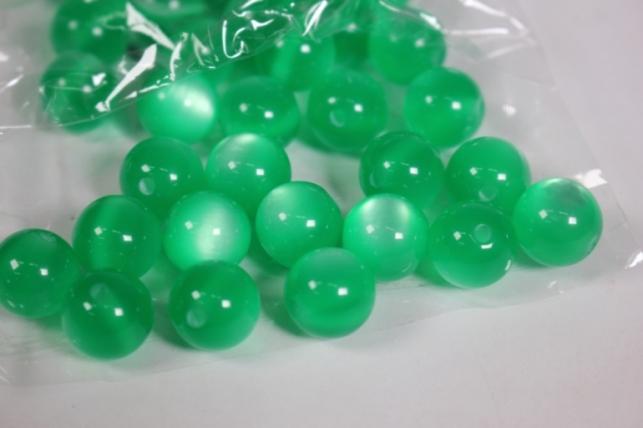 бусины  12мм зеленые (50гр) pl  cat eye 12vv col