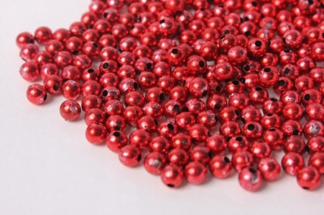 бусины 6мм круглые металлизированные красные (50гр) 8112