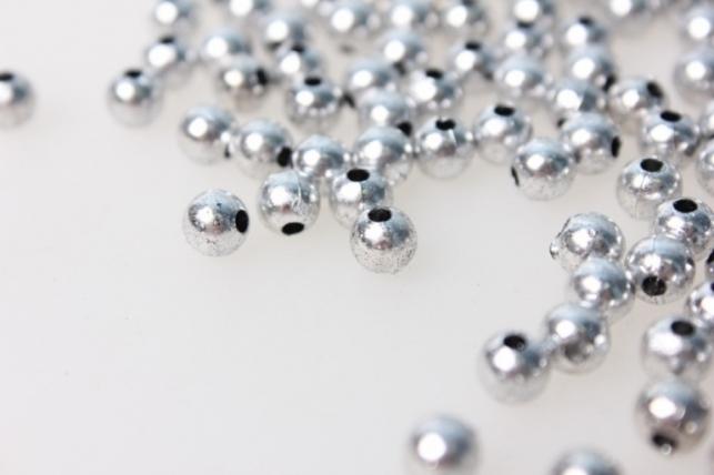 бусины 6мм круглые металлизированные серебрянные (50гр) 8112