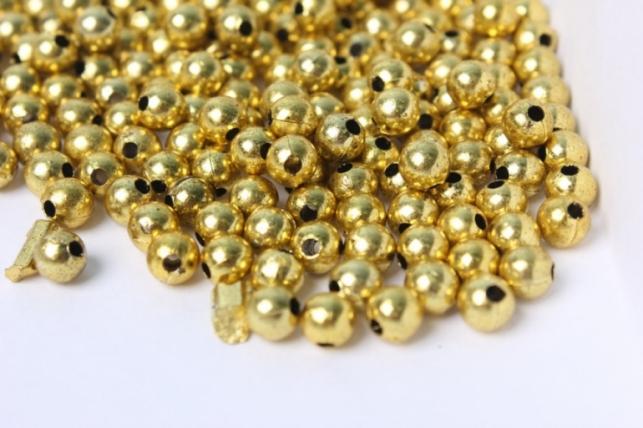 Бусины 6мм Круглые металлизированные Золотые (50гр)