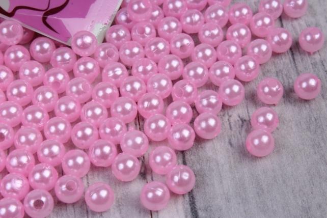 Бусины  6мм Круглые перламутр  Розовый  (50гр) PL в асс. K6-18  7605