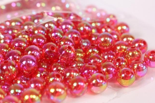 бусины 8мм круглые красные (50гр) 108 ав37 5088