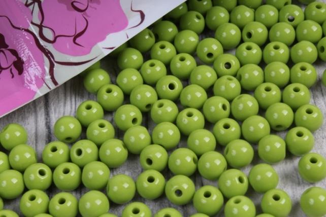 бусины  8мм круглые матовые салатовые  8cmmoli  (50гр) pl в асс.  4221