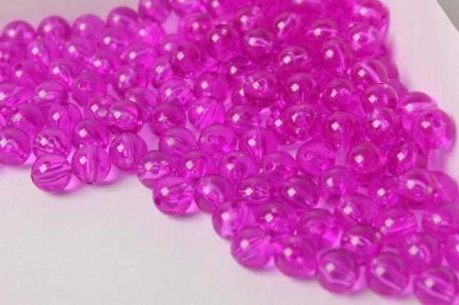 Бусины 8мм Круглые Прозрачные Фиолетовые (50гр)
