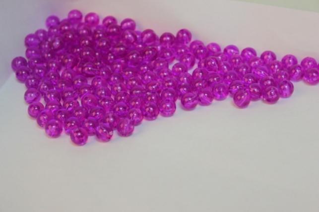 бусины 8мм круглые прозрачные фиолетовые (50гр) 8113