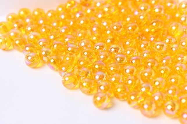 Бусины 8мм Круглые Прозрачные Желтые (50гр)