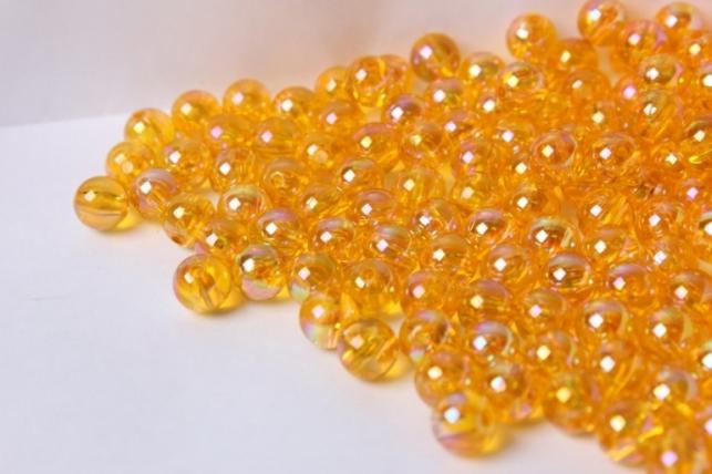 бусины 8мм круглые прозрачные желтые (50гр) 8113