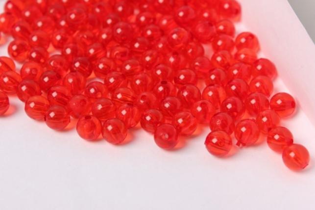 Бусины 8мм Круглые Прозрачные Красные (50гр)