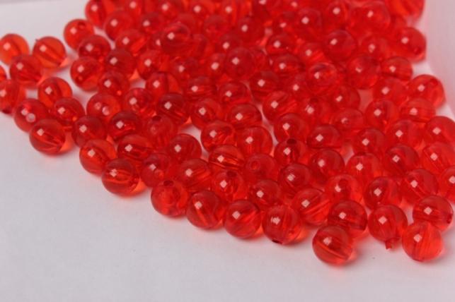 бусины 8мм круглые прозрачные красные (50гр) 8113