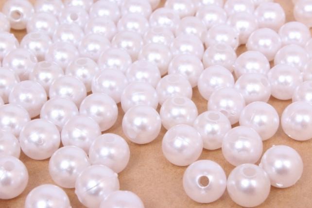 Бусины (А) жемчуг белый  (10мм) в пакете 100гр